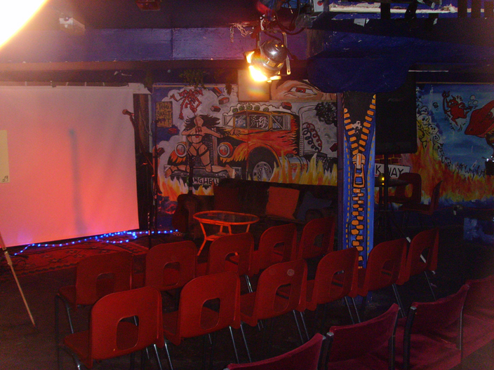 "Downstairs in ""Jesters Bar"", set up in the Theatrical Style."
